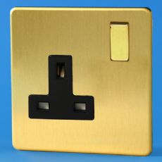 Varilight 1 Gang 13 Amp Switched Plug Socket Screwless Brushed Brass Dec Switch Black Insert XDB4BS